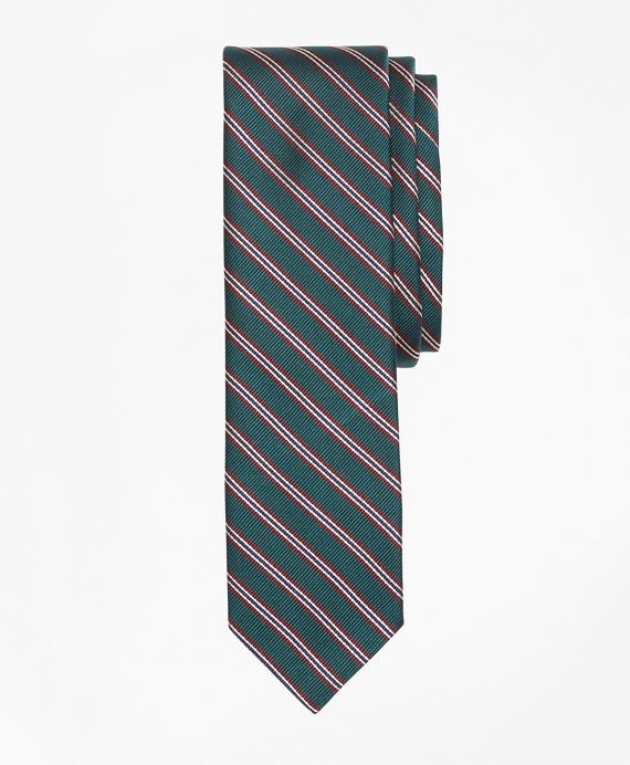 Striped Silk Rep Tie Green