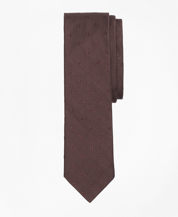 Floral Silk Jacquard Tie Brown