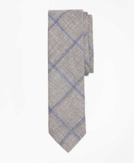 Windowpane Linen-Wool Sharkskin Tie