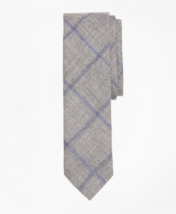 Windowpane Linen-Wool Sharkskin Tie Grey