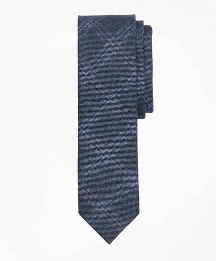Windowpane Wool-Linen Twill Tie