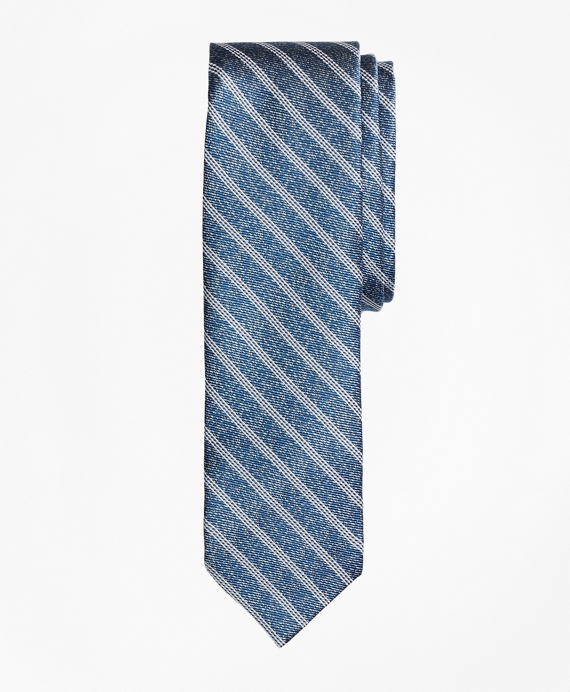 Heathered Stripe Silk Jacquard Tie Blue