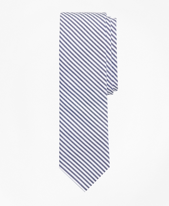 Striped Seersucker Tie Blue
