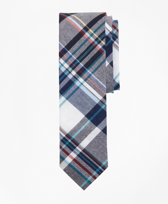 Plaid Madras Tie Navy-White
