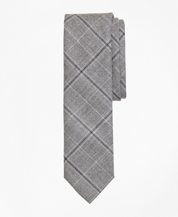 Windowpane Wool Tie Grey