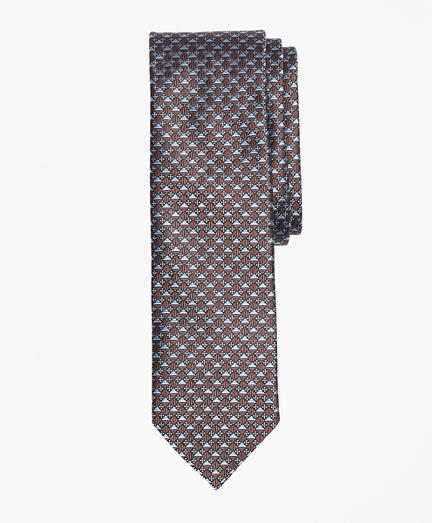 Geometric Floral Pattern Mercerized Silk Tie