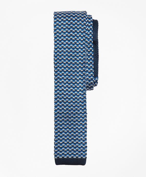 Patterned Silk Knit Tie Blue