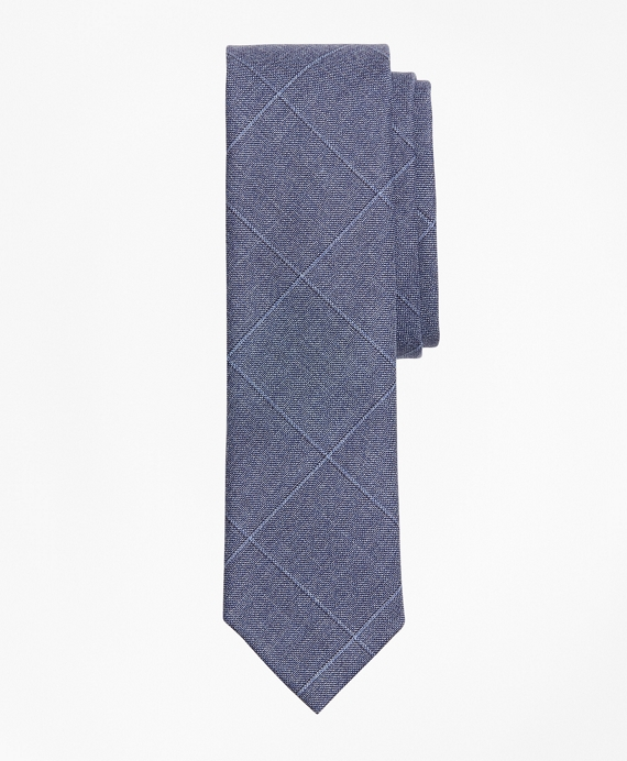 Windowpane Wool Twill Tie Blue