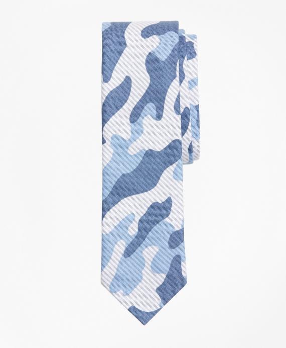 Camo-Print Striped Cotton Tie Blue