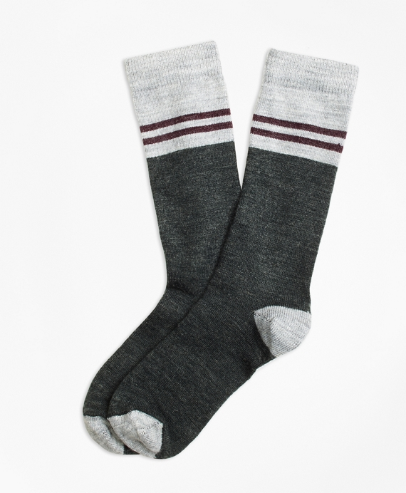 Varsity Stripe Wool Crew Socks Charcoal