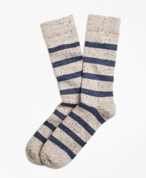 Striped Donegal Wool Crew Socks