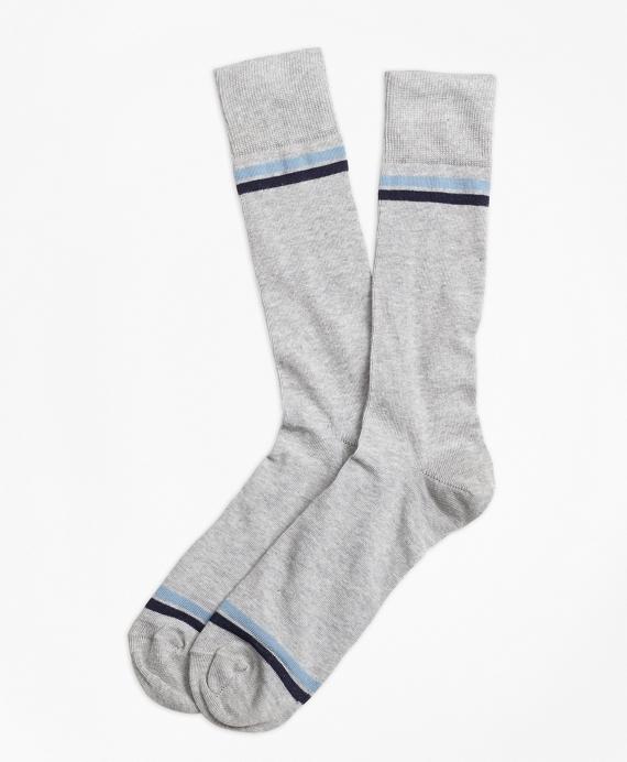 Stripe-Tip Crew Socks Grey