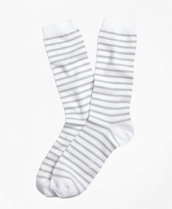 Stripe Crew Socks Grey