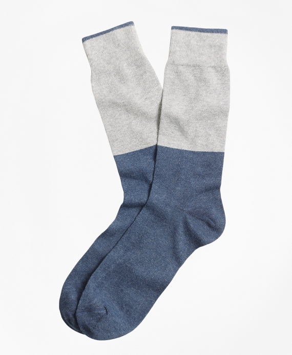 Color-Block Crew Socks Grey-Blue
