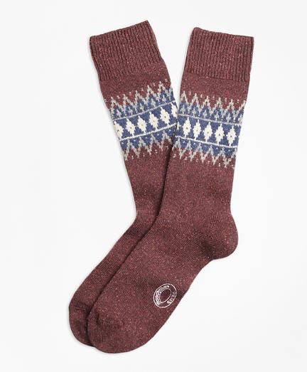 Fair Isle Wool-Silk-Blend Socks