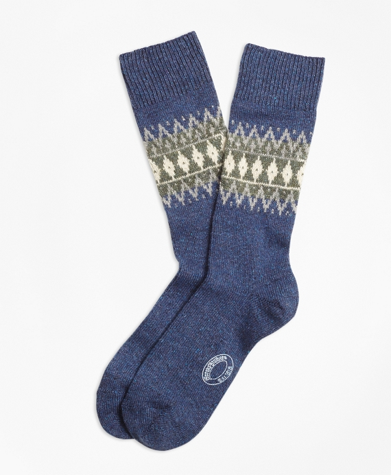 Fair Isle Wool-Silk-Blend Socks