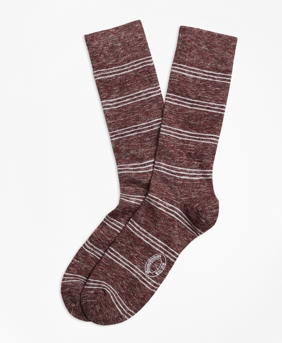 Marled Tri-Stripe Cotton-Wool-Blend Socks