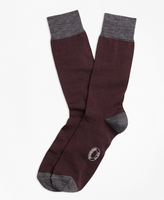 Marled Color-Block Wool-Blend Socks Burgundy