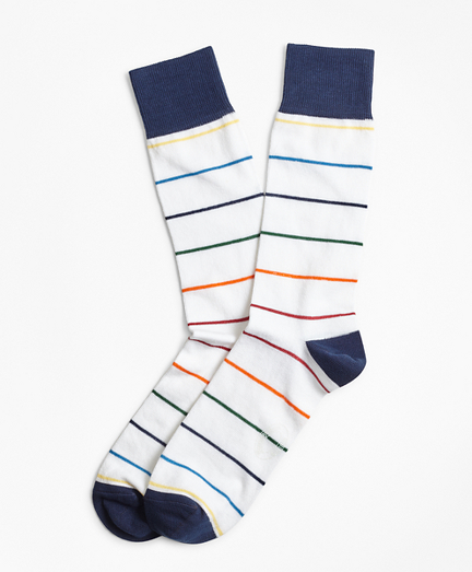Happy Stripe Crew Socks