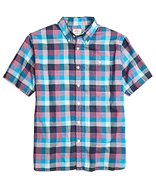Pink Madras Short-Sleeve Sport Shirt