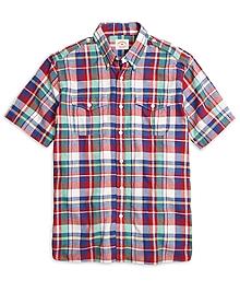 Red Madras Short-Sleeve Safari Sport Shirt