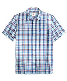 Aqua Plaid Short-Sleeve Sport Shirt