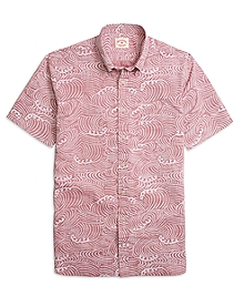 Wave Print Short-Sleeve Sport Shirt