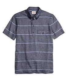 Stripe Popover Short-Sleeve Sport Shirt