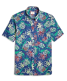 Seersucker Pineapple Print Short Sleeve Sport Shirt