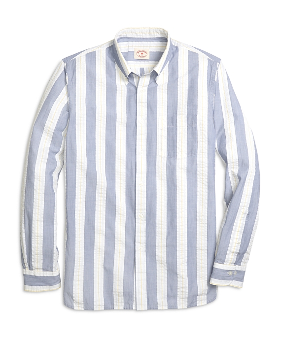 Men 39 s blue seersucker wide stripe sport shirt brooks for Mens seersucker shirts on sale