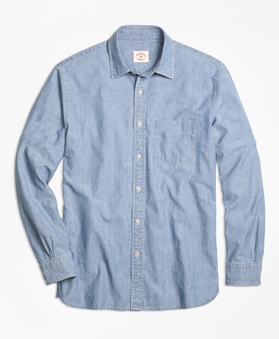 Men 39 s chambray blue spread collar sport shirt brooks for Chambray 7 s