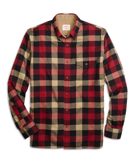 Buffalo Check Flannel Sport Shirt Red-Black