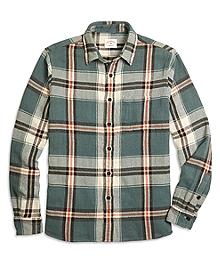 Green Plaid Flannel Sport Shirt