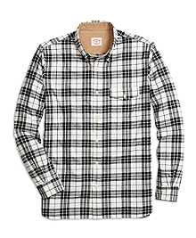 Black and White Plaid Flannel Sport Shirt