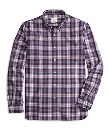 Navy and Red Plaid Sport Shirt