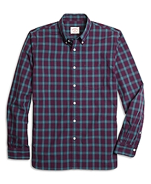 Burgundy and Green Plaid Sport Shirt