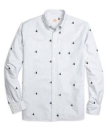 Mallard Duck Embroidered Stripe Sport Shirt