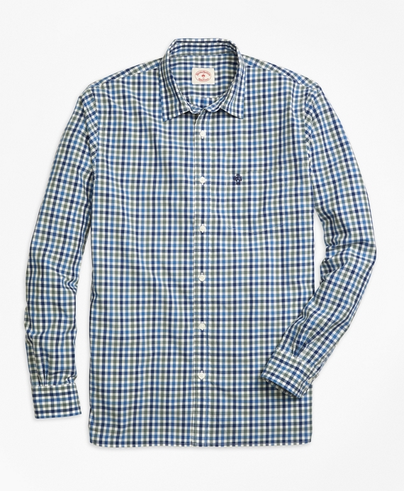Gingham Sport Shirt Blue-Green