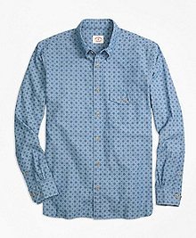 Chambray Foulard Print Sport Shirt