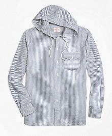 Stripe Seersucker Hooded Sport Shirt