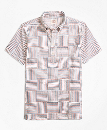 Patchwork Seersucker Popover Short-Sleeve Sport Shirt