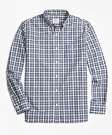 Cotton Poplin Plaid Sport Shirt