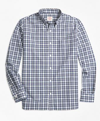 Cotton Poplin Plaid Sport Shirt