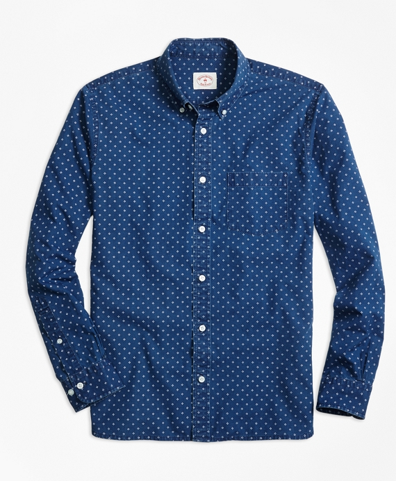 Chambray Diamond-Print Sport Shirt