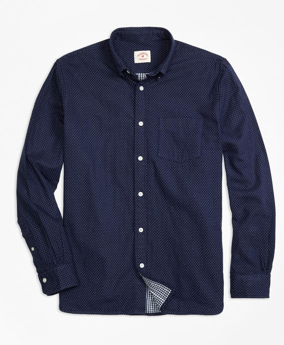 Cotton Double-Faced Sport Shirt Navy