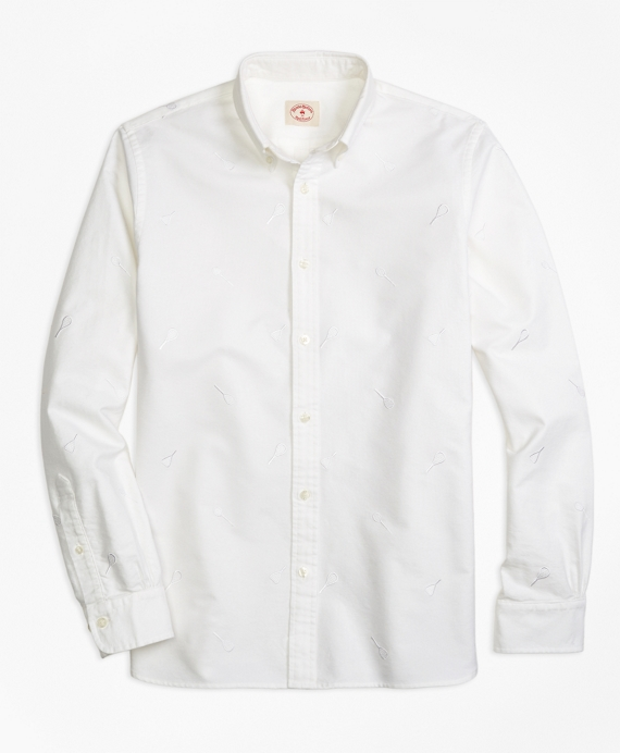 Racquet-Embroidered Sport Shirt White
