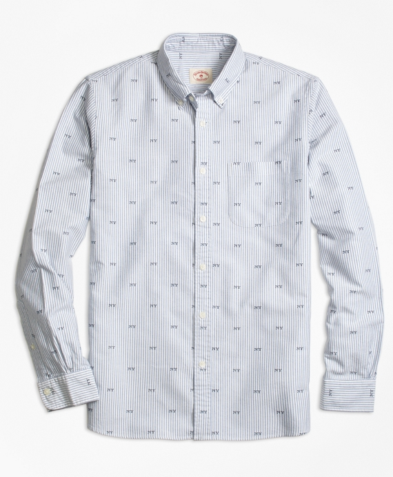 Stripe NY Print Oxford Sport Shirt