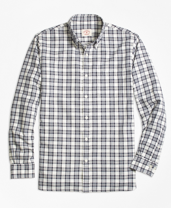 Plaid Sport Shirt Navy-White