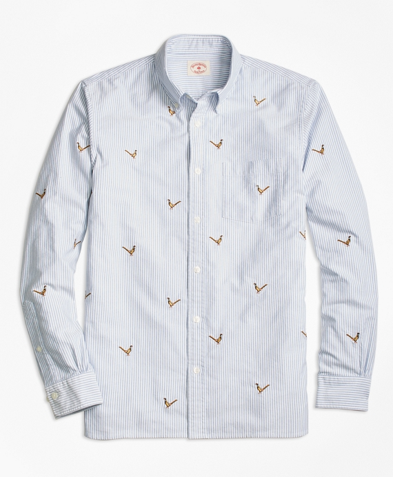 Pheasant-Embroidered Striped Oxford Sport Shirt Blue