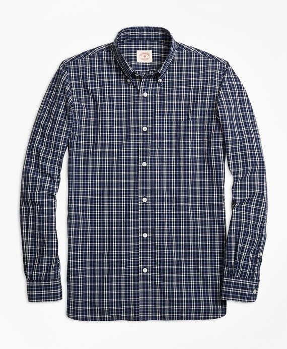 Checkered Broadcloth Sport Shirt Navy
